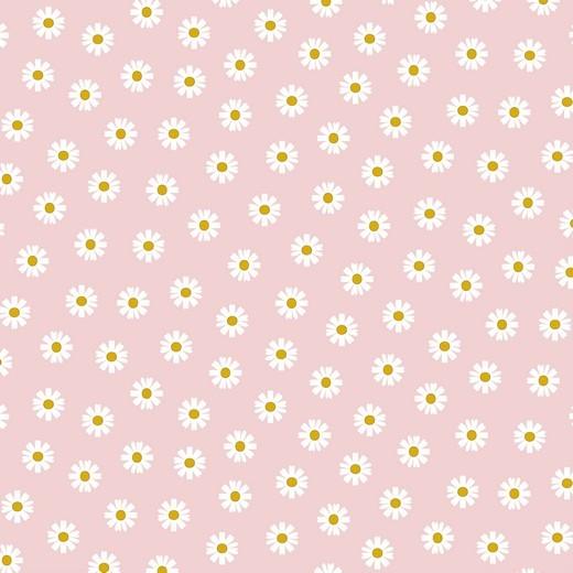 Daisy Flowers auf hellrosa, Baumwollstoff, 60°waschbar