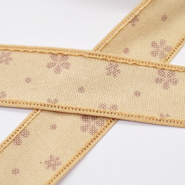 Blumen und Punkte, hellbraun, Baumwollband
