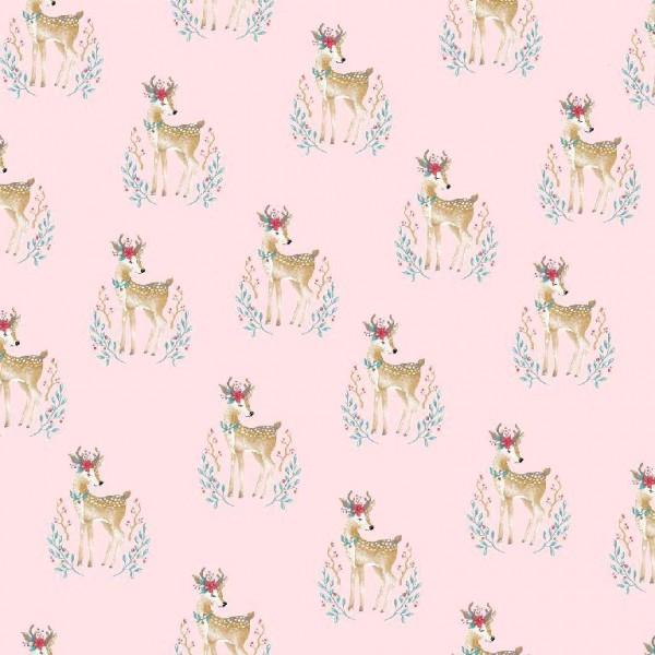 Woodland Deer rosa, Baumwolllstoff, waschbar bei 60°
