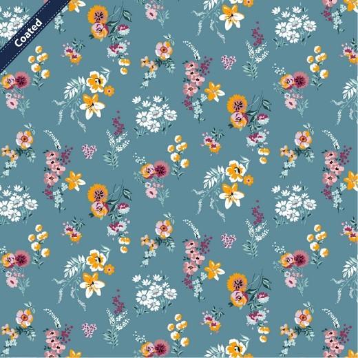 Alma, Laminat/Wachstuch, Wiesenblümchen auf mittelblau