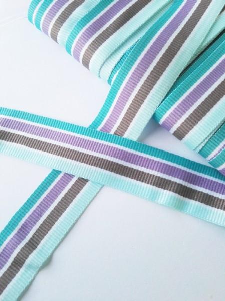 Streifen türkis-taupe-lila, Ripsband