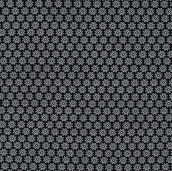 Miri kleine Blüte, schwarz, Webstoff