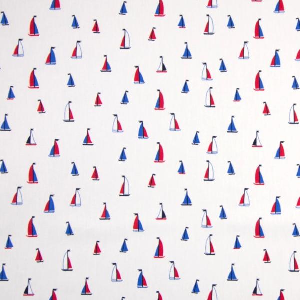 Kleine Segelboot offwhite, Baumwollpopeline