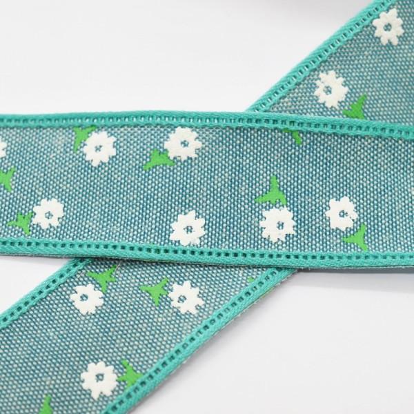 Blumen und Blätter, petrol, Baumwollband