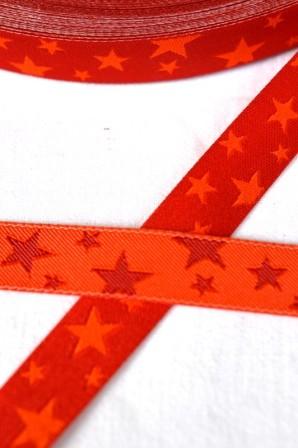 unregelmäßige Sterne, orange-rot, Webband beidseitig