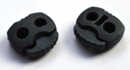 Kordelstopper, 2 löchrig, dunkelblau matt
