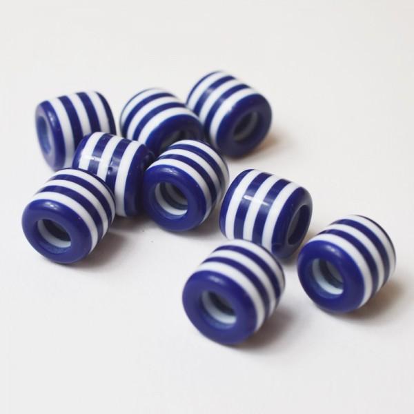 Großlochperle, dunkelblau-weiß gestreift, Durchzug 6 mm