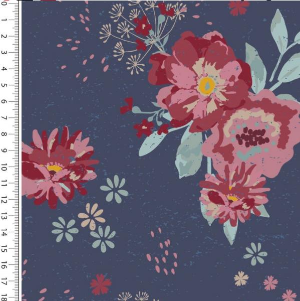 Romantic Blumen dunkelblau Jersey