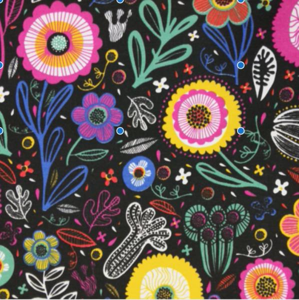 Dekostoff Blumenwiese auf schwarz