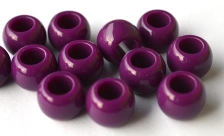 Großlochperle, violett, Durchzug 7 mm