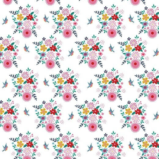Birdy Flowers Blumen weiß, Baumwoll-Popeline bei 60° waschbar