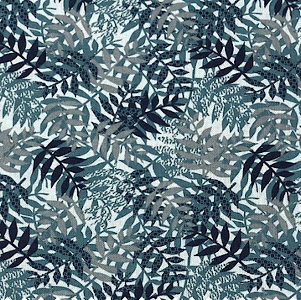 Dekostoff Blätter, Blautöne