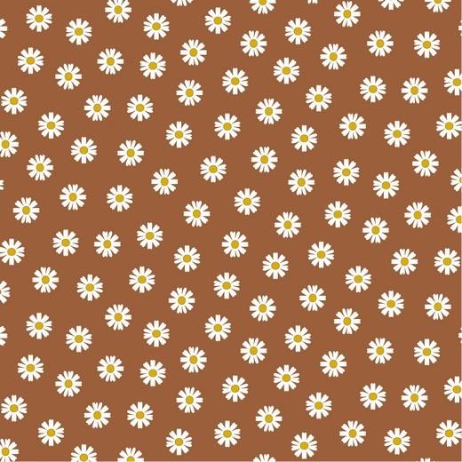 Daisy Flowers auf rost, Baumwollstoff, 60°waschbar