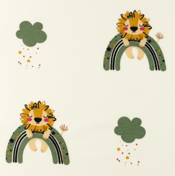 Jersey, Löwe&Regenbogen grün auf offwhite