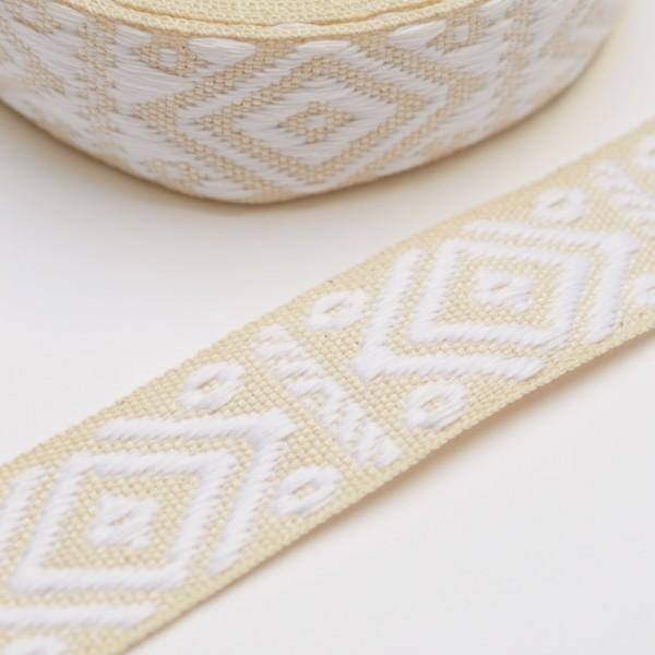 Gurtband, Rhombus & Dots, weiß auf creme