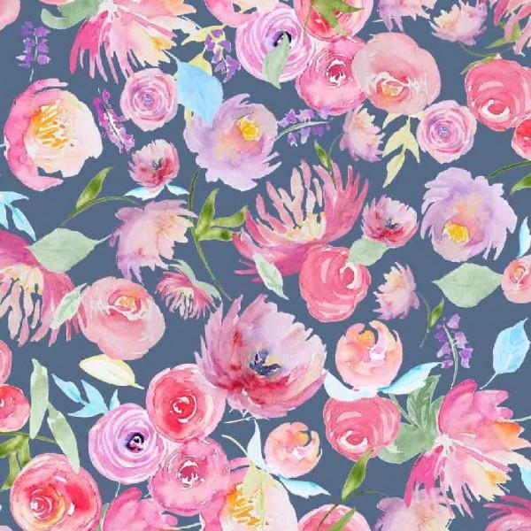 Digitaldruck Aquarell-Blumen auf grau, Jersey