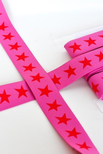 Gummiband breit, Sterne rot auf pink