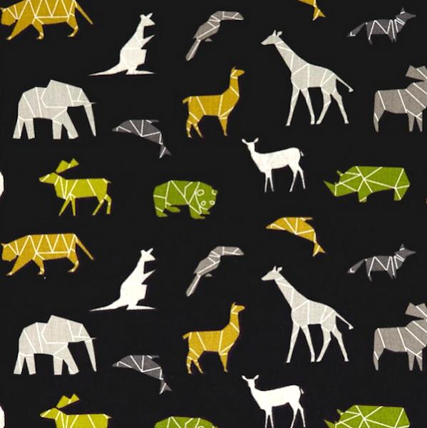 Tiere Afrikas schwarz, Baumwollstoff