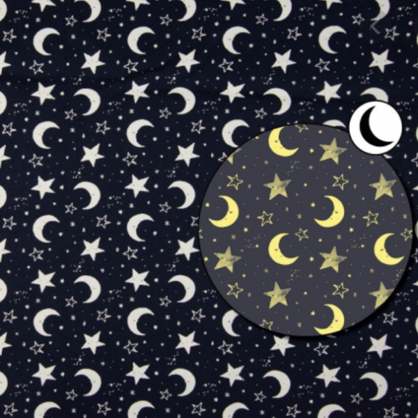 Zauber-Glow-in-the-Dark-Baumwollstoff Mond, dunkelblau