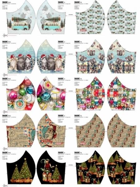Maskenstoff Digitaldruck Christmas für 10 Masken, Paneel, Baumwollstoff