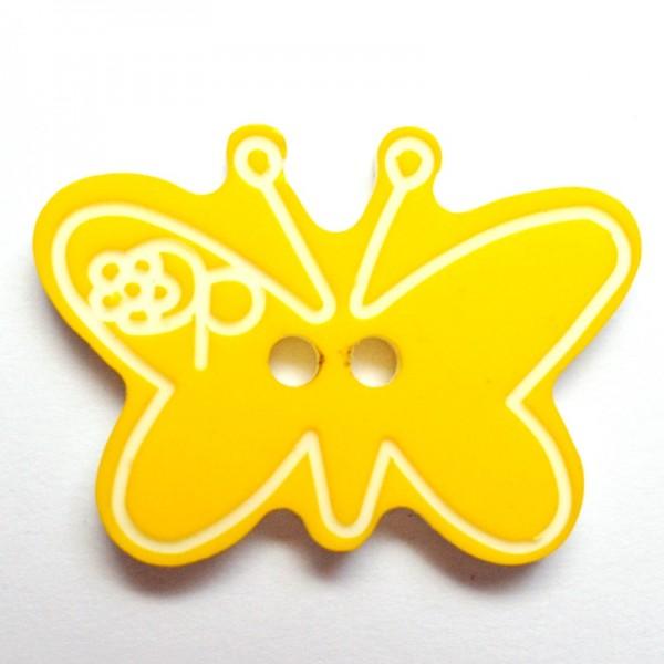 Schmetterling, mit weißen Linien, gelb Knopf *Letzte 2 Stück*