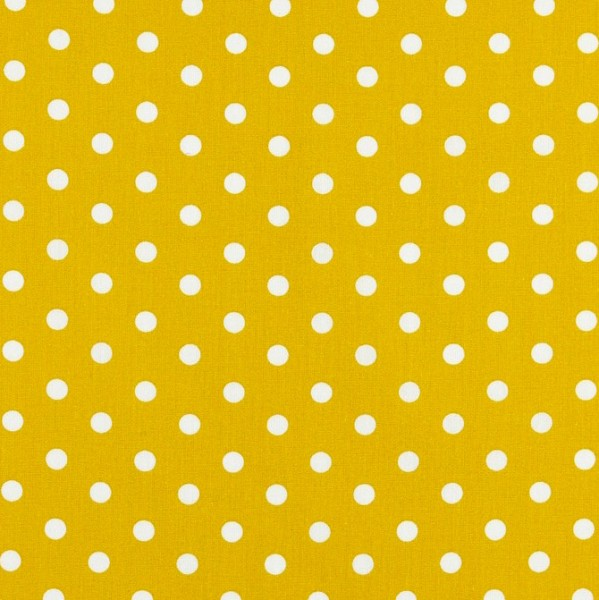 Lili Punkte mittel, auf gelb, Webstoff, waschbar bei 60°