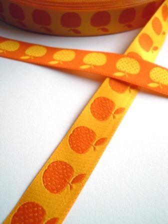 Apfel, gelb-orange, Webband beidseitig