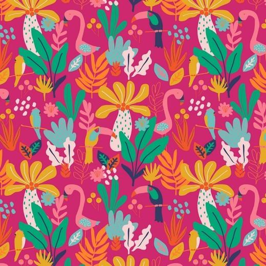 Flamingo&Flowers auf pink, Baumwoll-Popeline, waschbar bei 60°