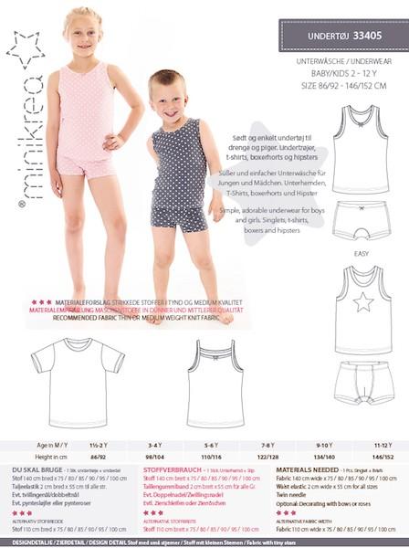 Minikrea Kinder-Unterwäsche 33405, Schnittmuster