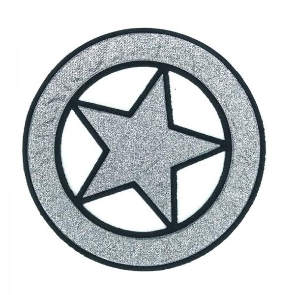 Applikation großer Stern im Kreis, silber
