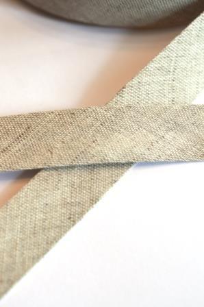Leinen-Schrägbänder, beige-meliert