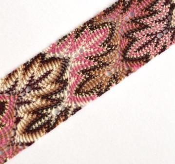 bügelbare Häkelborte, braun-pink *SALE*