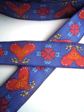 Folky Hearts, blau, Webband