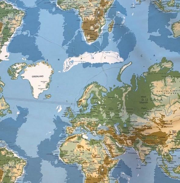 Dekostoff Weltkarte