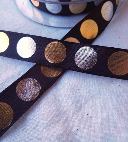 Metallic Dots, schwarz, Dekoband