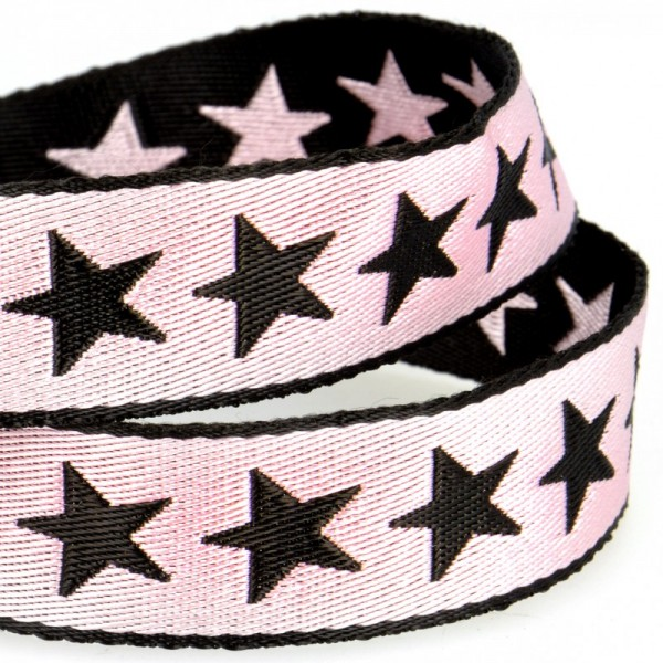 Gurtband, Sterne rosa, beidseitig