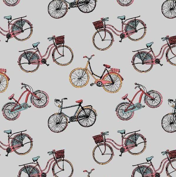 Fahrräder grau, Dekostoff