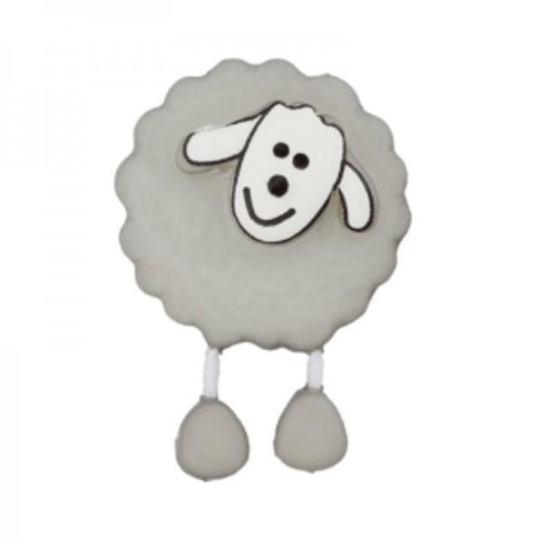 Schaf, grau, Knopf