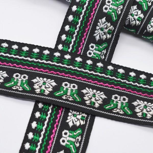 Tracht grün-weiß-pink auf schwarz, Webband