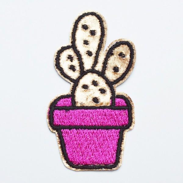 Applikation Kaktus pink-gold