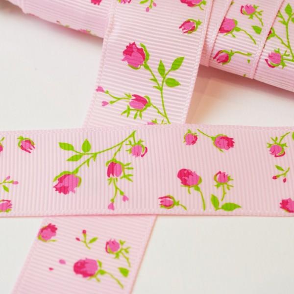 Röschen, rosa, 25 mm Ripsband *SALE*