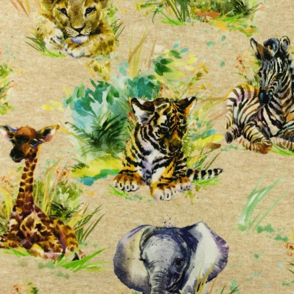 Digitaldruck Tiere Afrikas, mittelbraun-meliert, Jersey