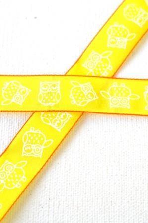 Eulen, gelb, Stoffband *SALE*