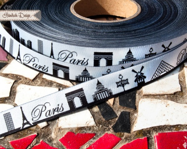Paris Skyline, schwarz, Webband