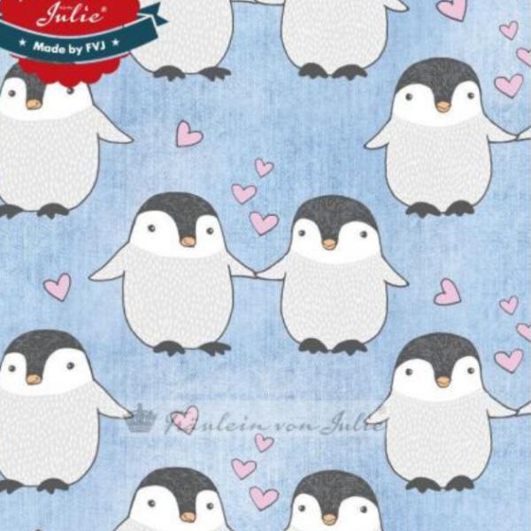 Fräulein von Julie, Pinguine auf hellblau-meliert, Kuschelsweat