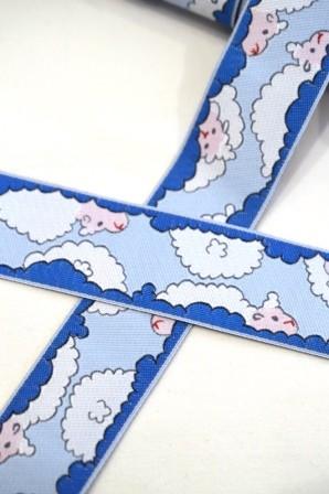 Wolkenschafe, blau, Webband