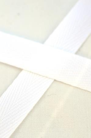 Baumwollköperband, 10 mm, weiß