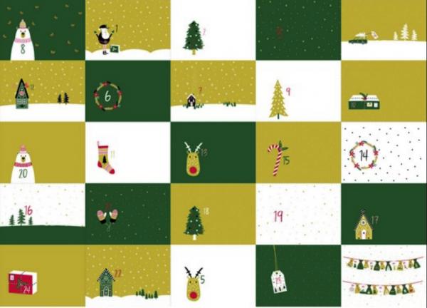 Adventkalender grün, Baumwollstoff, Paneel