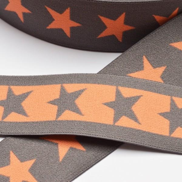 Gummiband breit, Sterne grau-orange