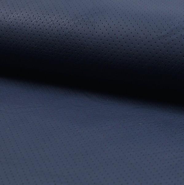 Lederimitat dunkelblau mit gestanzten Punkten